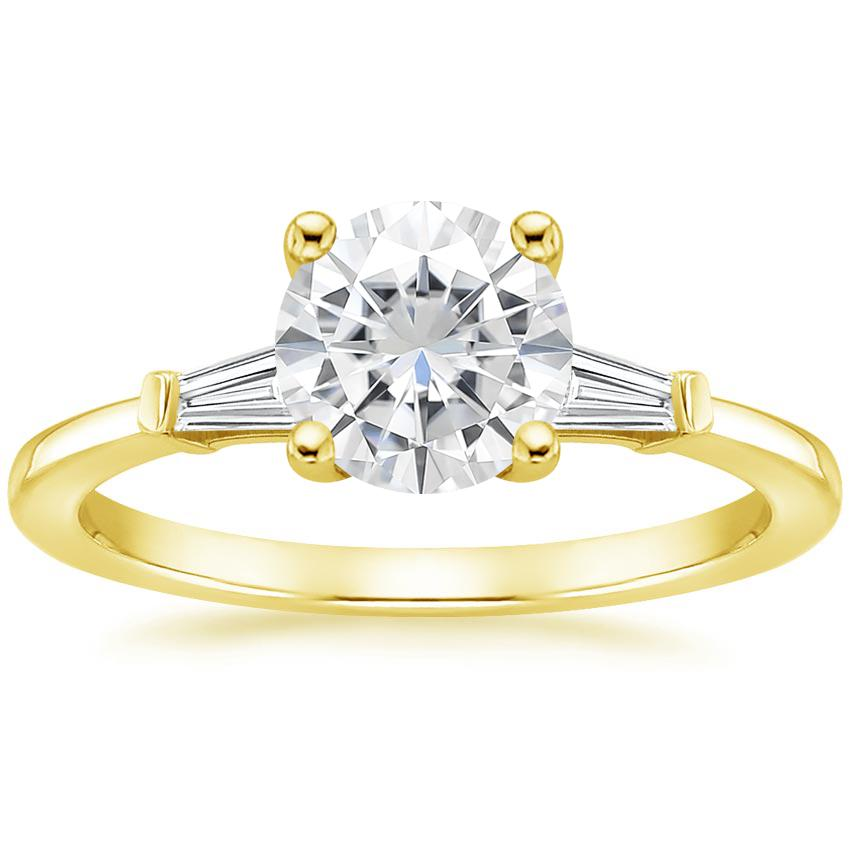 Yellow Gold Moissanite Tapered Baguette Diamond Ring