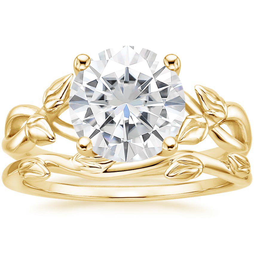 18KY Moissanite Budding Willow Ring with Winding Willow Ring, top view