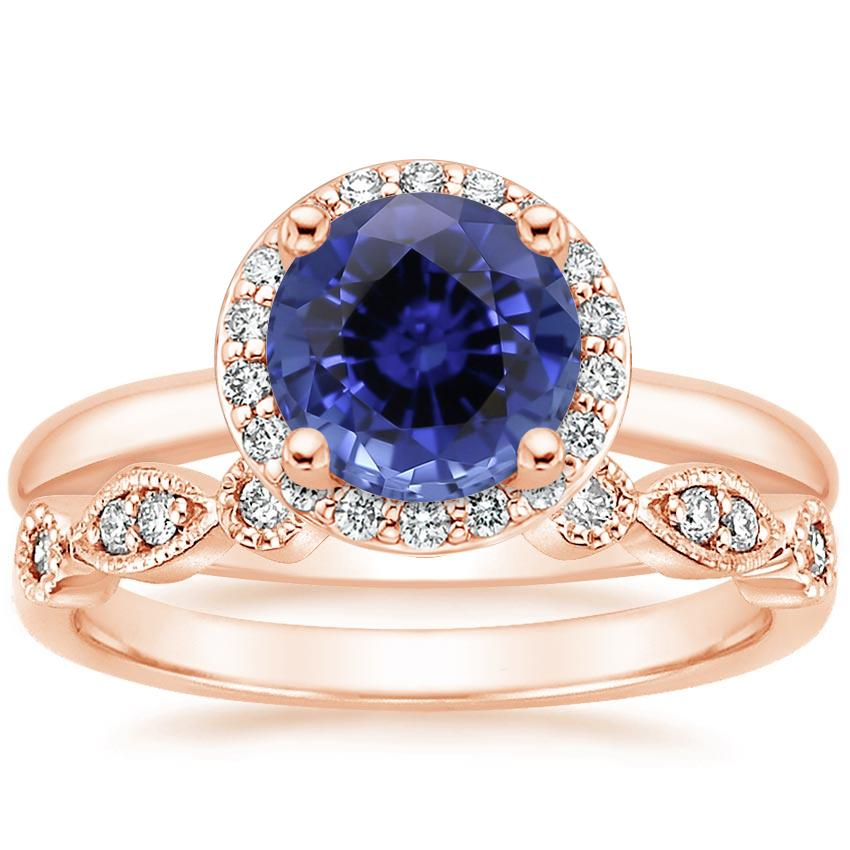 14KR Sapphire Halo Diamond Ring (1/6 ct. tw.) with Tiara Diamond Ring (1/10 ct. tw.), top view