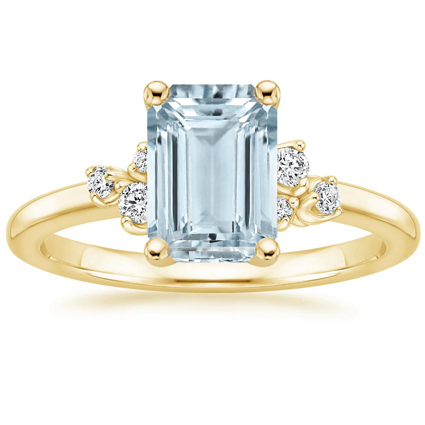 Yellow Gold Aquamarine Mia Diamond Ring