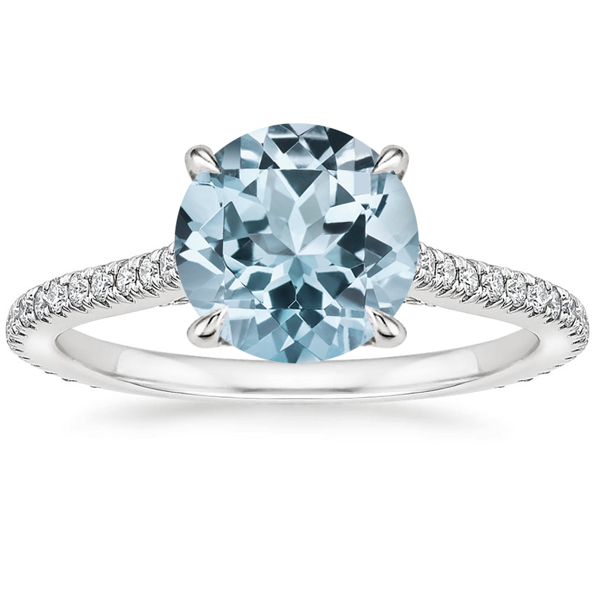 Aquamarine Arbor Diamond Ring (1/3 ct. tw.) in 18K White Gold