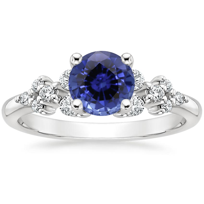 Sapphire Effervescence Diamond Ring in 18K White Gold
