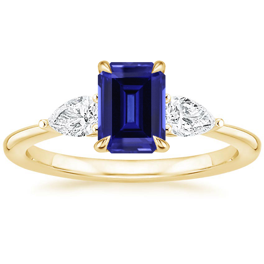 Yellow Gold Sapphire Opera Diamond Ring