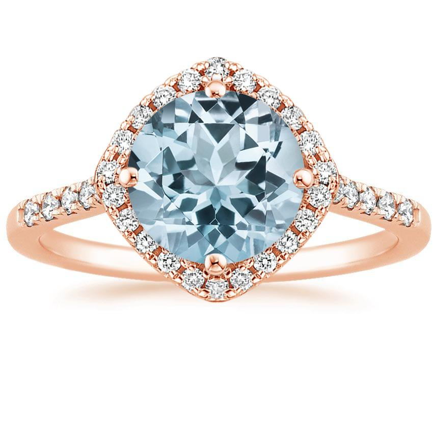 Rose Gold Aquamarine Cometa Diamond Ring
