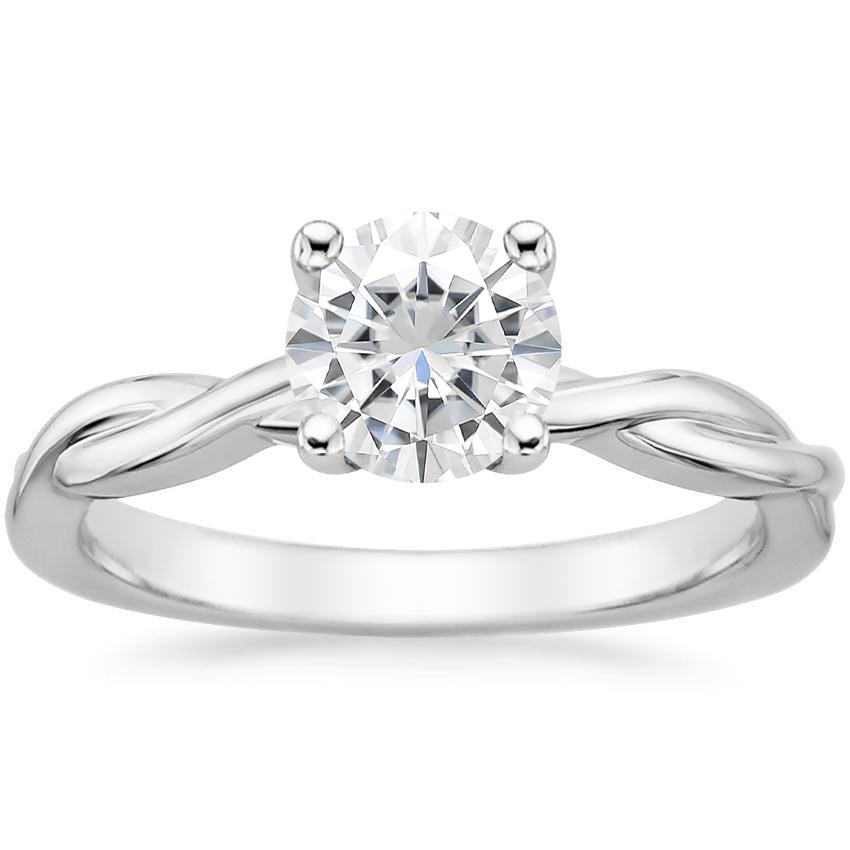 Moissanite Twisted Vine Ring in 18K White Gold