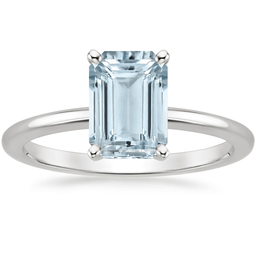 Aquamarine Four-Prong Petite Comfort Fit Ring in 18K White Gold