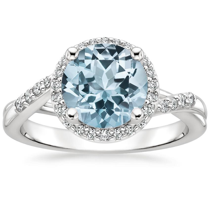 Aquamarine Chamise Halo Diamond Ring (1/5 ct. tw.) in 18K White Gold