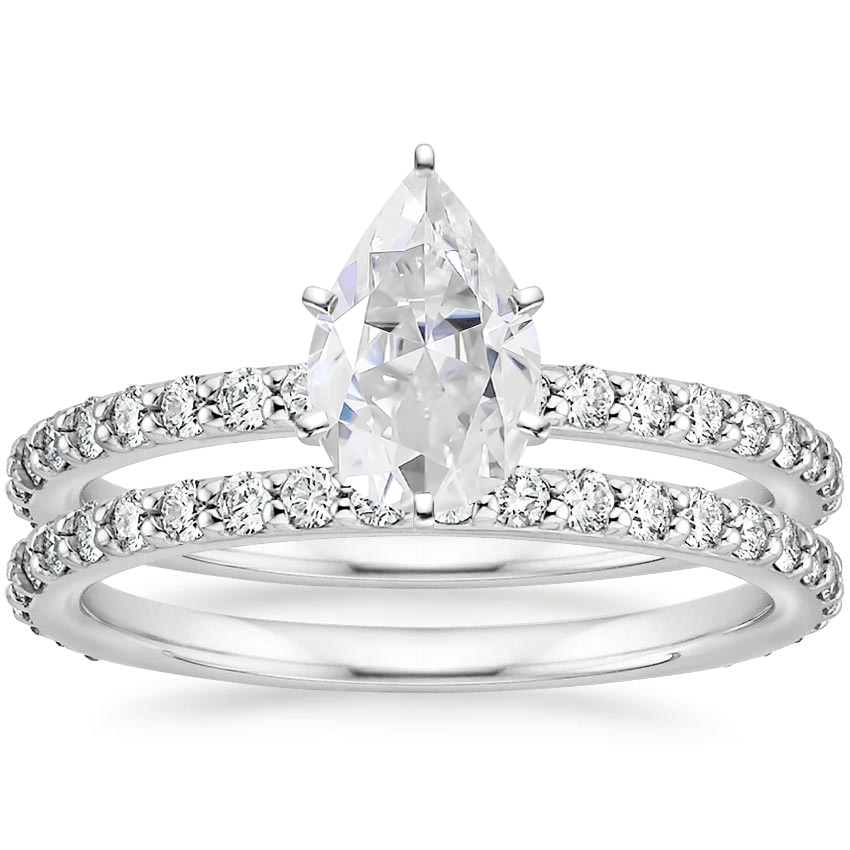 PT Moissanite Luxe Petite Shared Prong Diamond Bridal Set (3/4 ct. tw.), top view