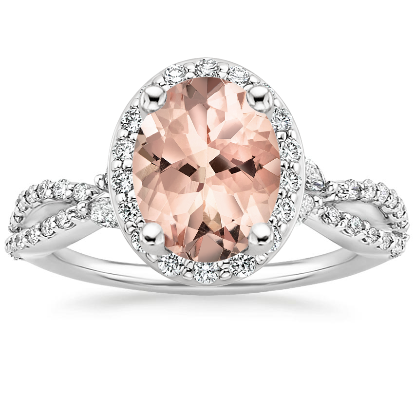 Morganite Luxe Willow Halo Diamond Ring (2/5 ct. tw.) in Platinum