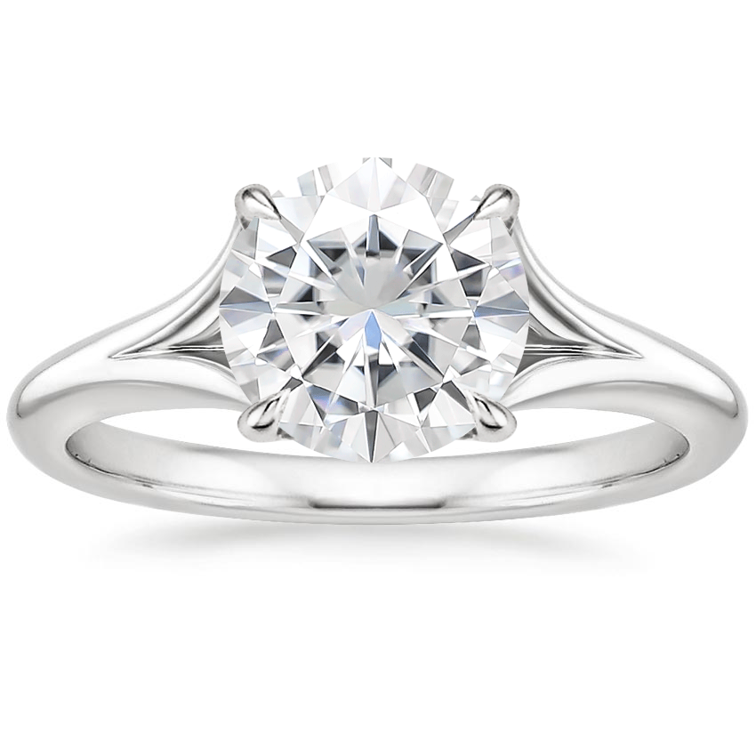 Moissanite Reverie Ring with Surprise Sapphire Accents in 18K White Gold