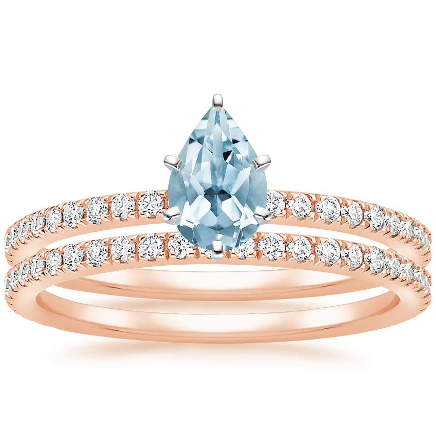 14KR Aquamarine Luxe Ballad Bridal Set (1/2 ct. tw.), top view