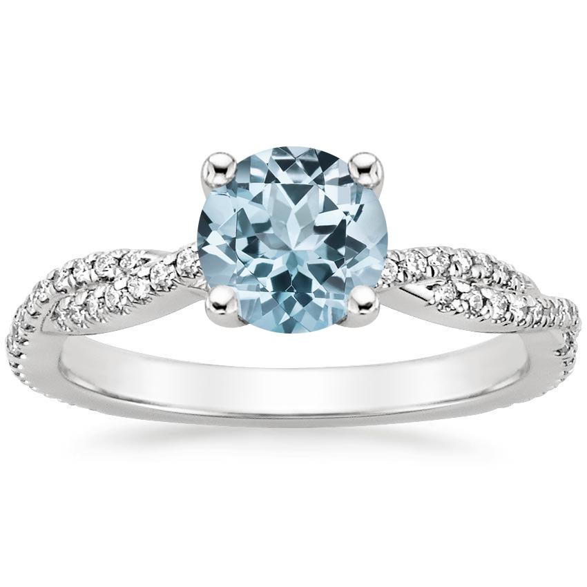 Aquamarine Petite Luxe Twisted Vine Diamond Ring (1/4 ct. tw.) in Platinum