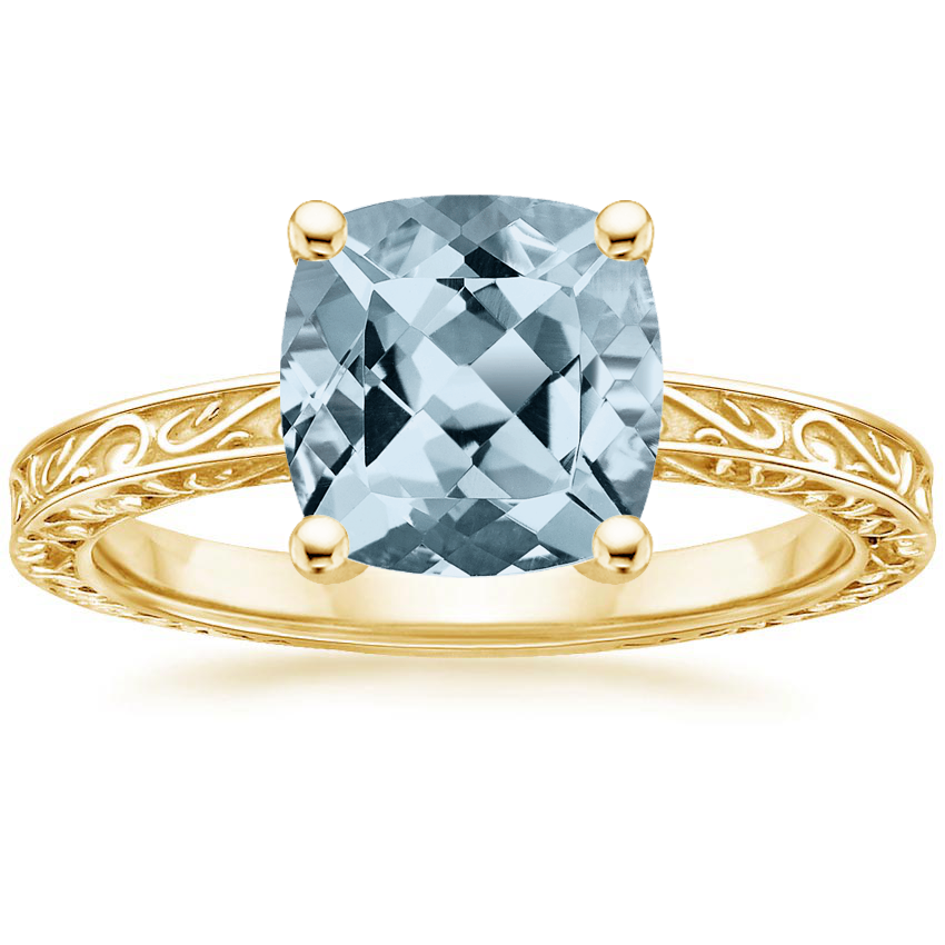 Yellow Gold Aquamarine Delicate Antique Scroll Solitaire Ring