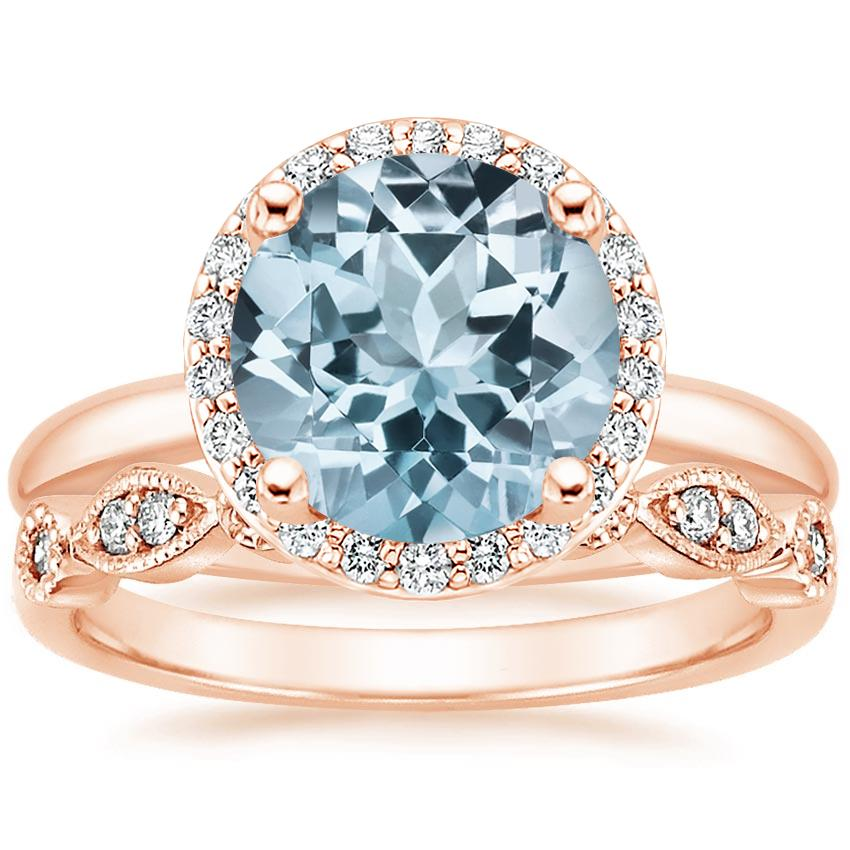 14KR Aquamarine Halo Diamond Ring (1/6 ct. tw.) with Tiara Diamond Ring (1/10 ct. tw.), top view