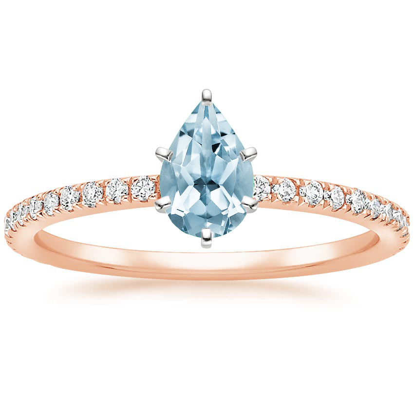 Rose Gold Aquamarine Luxe Ballad Diamond Ring (1/4 ct. tw.)