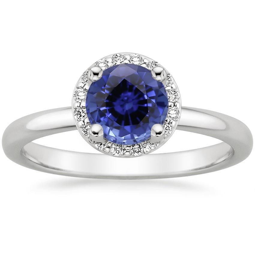 Sapphire Halo Diamond Ring (1/6 ct. tw.) in 18K White Gold