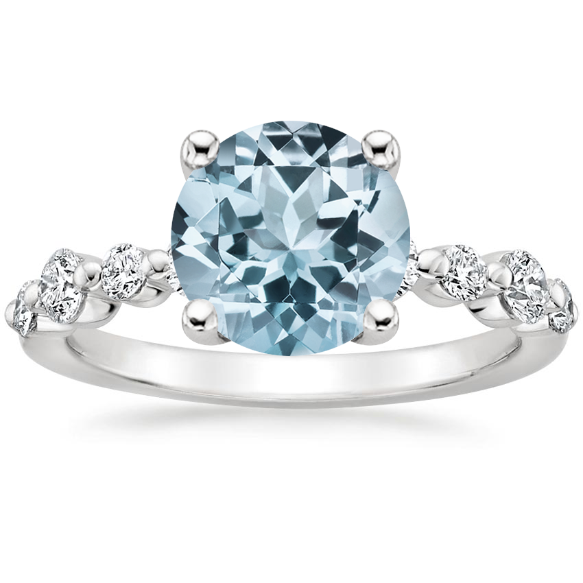 Aquamarine Bordeaux Diamond Ring in 18K White Gold
