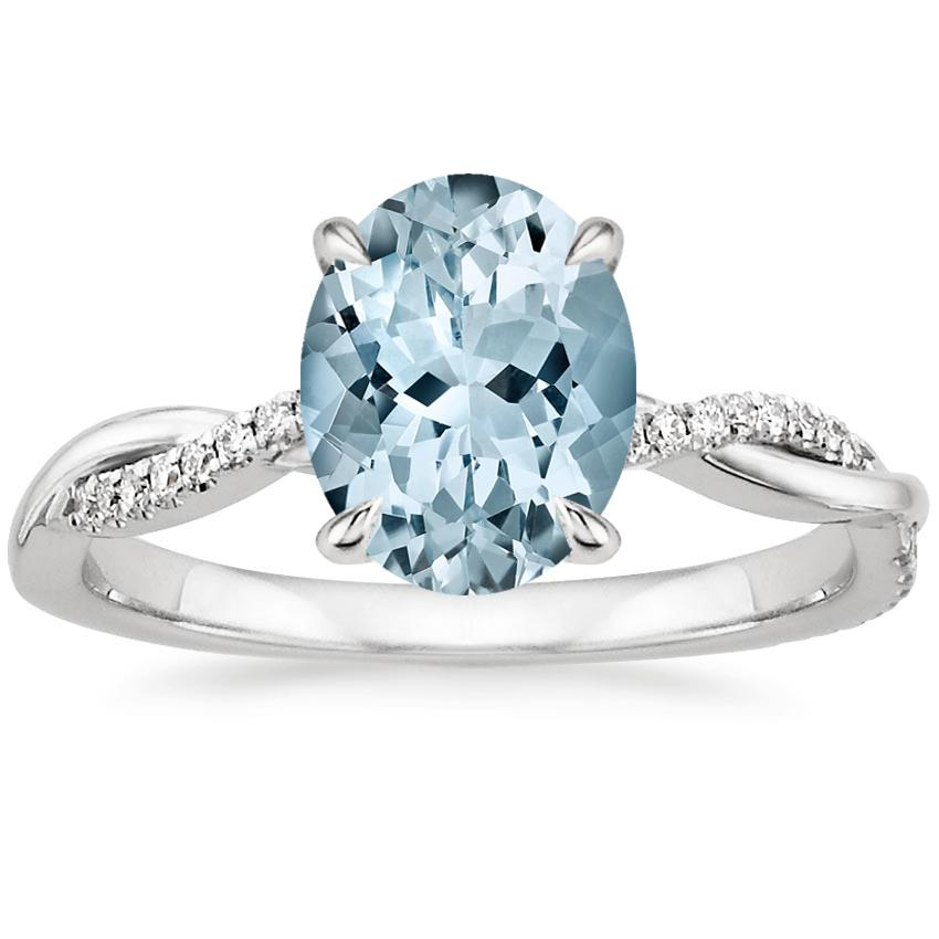 Aquamarine Petite Twisted Vine Diamond Ring in Platinum
