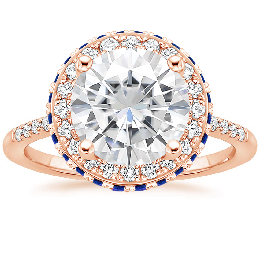Rose Gold Moissanite Circa Diamond Ring with Sapphire Accents (1/4 ct. tw.)