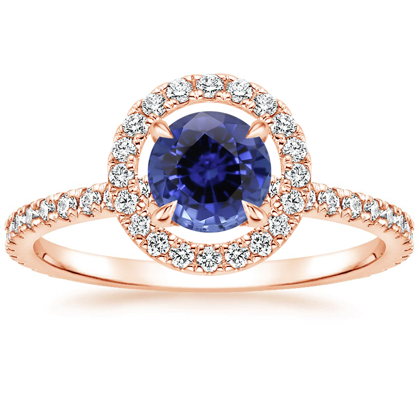 Rose Gold Sapphire Aura Diamond Ring