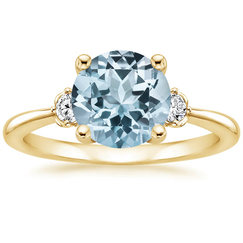 Yellow Gold Aquamarine Blossom Diamond Ring (1/10 ct. tw.)