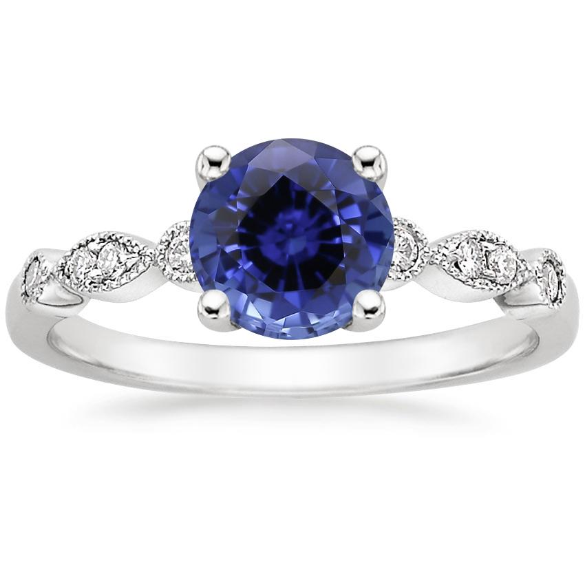 Sapphire Tiara Diamond Ring in 18K White Gold