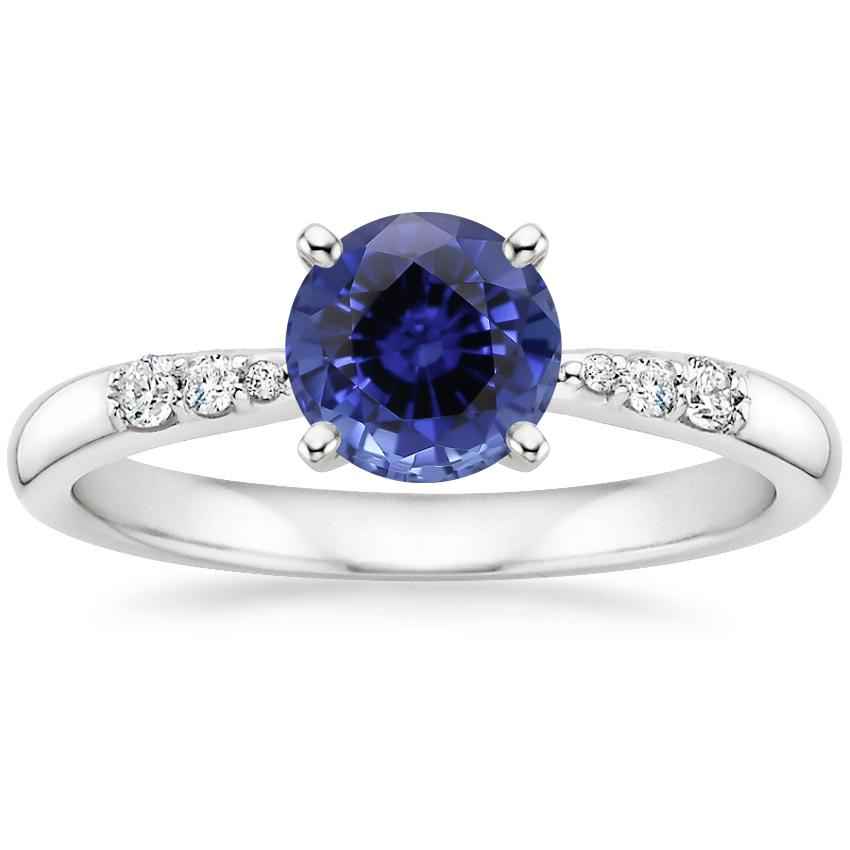 Sapphire Lark Diamond Ring in 18K White Gold