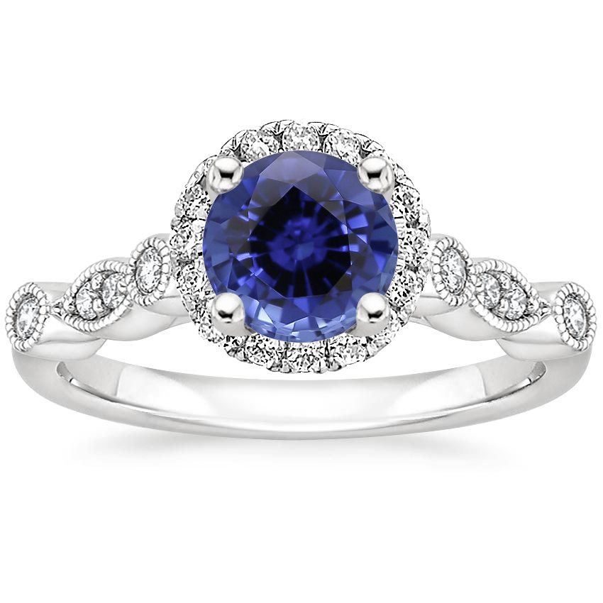 Sapphire Tiara Halo Diamond Ring (1/4 ct. tw.) in Platinum