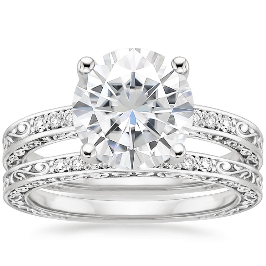 18KW Moissanite Delicate Antique Scroll Diamond Bridal Set, top view