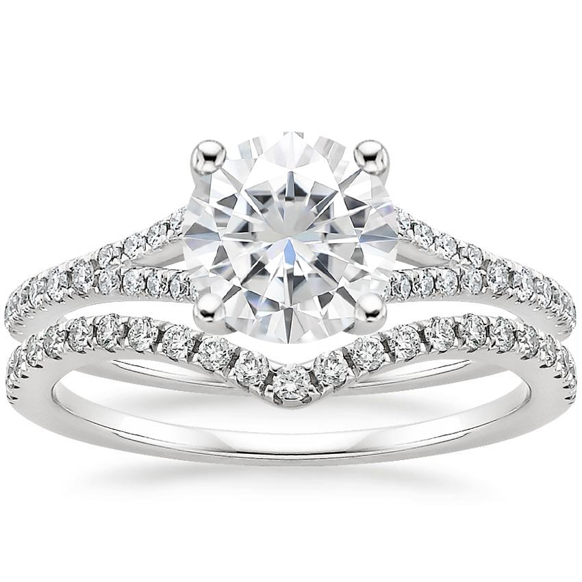 18KW Moissanite Flair Diamond Bridal Set (1/3 ct. tw.), top view