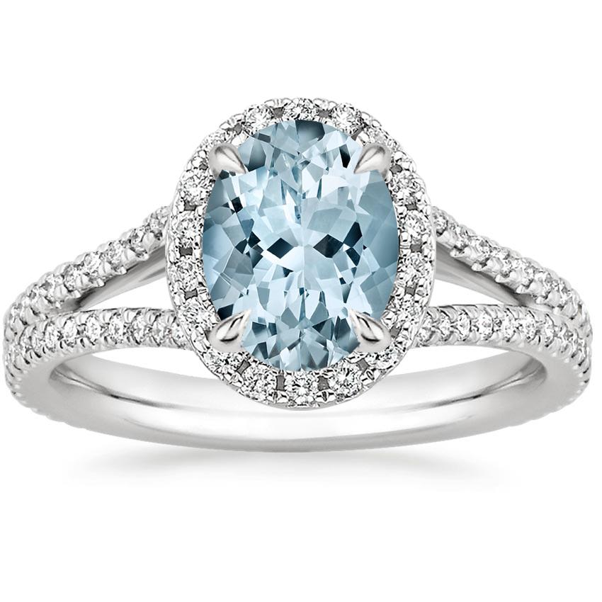 Aquamarine Fortuna Diamond Ring (1/2 ct. tw.) in 18K White Gold