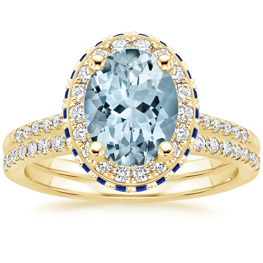 18KY Aquamarine Circa Diamond Ring with Sapphire Accents with Ballad Diamond Ring (1/6 ct. tw.), top view