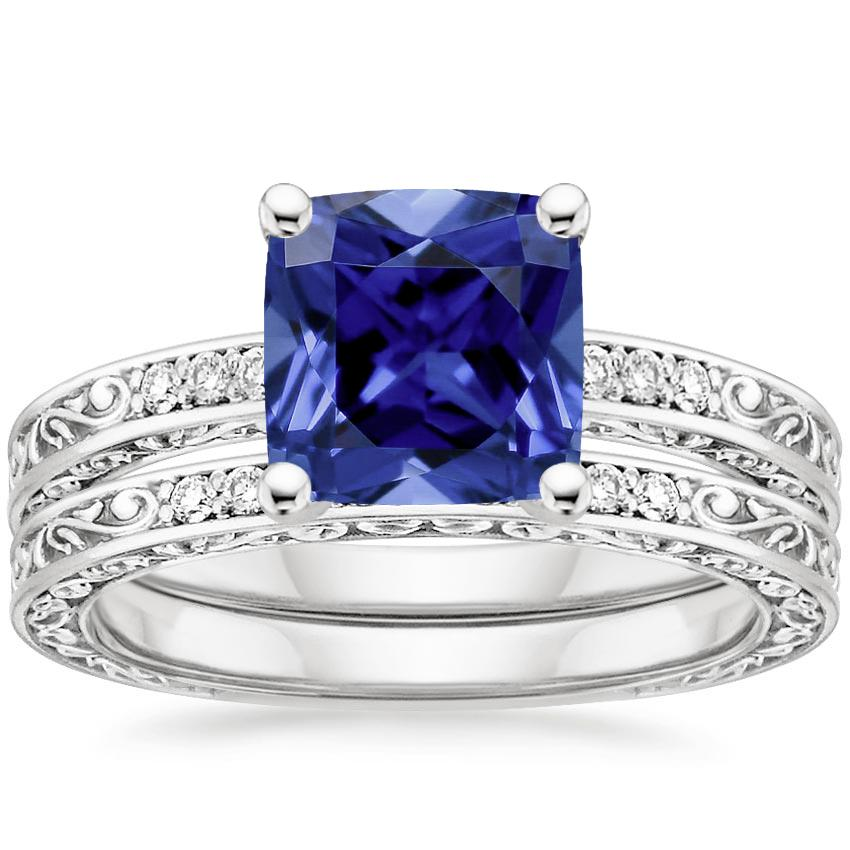 18KW Sapphire Delicate Antique Scroll Diamond Bridal Set, top view
