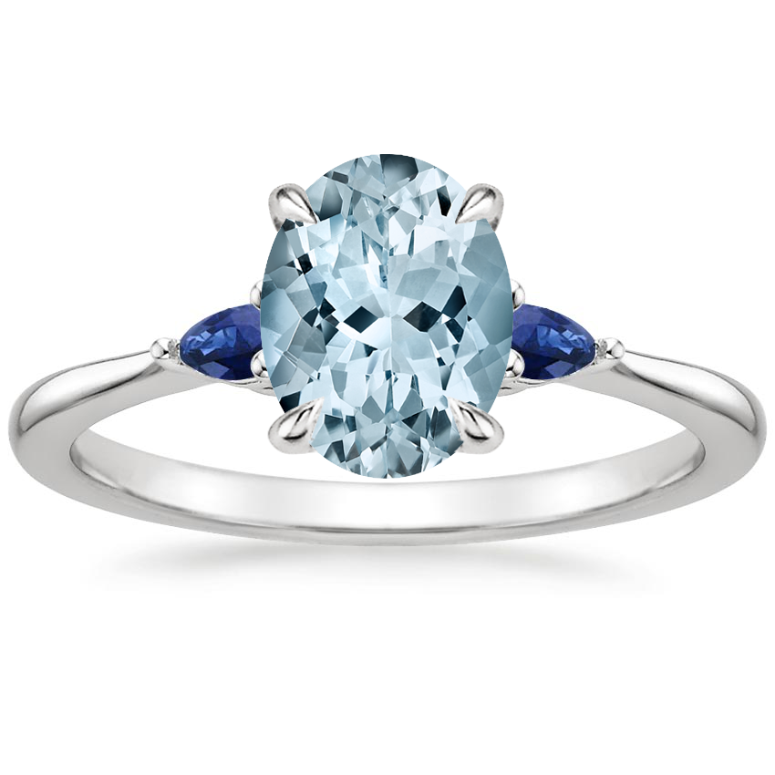 Aquamarine Aria Ring with Sapphire Accents in Platinum