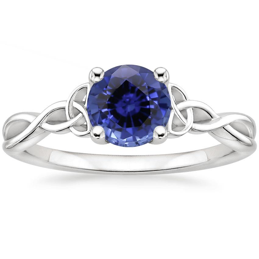 Sapphire Entwined Celtic Love Knot Ring In 18K White Gold