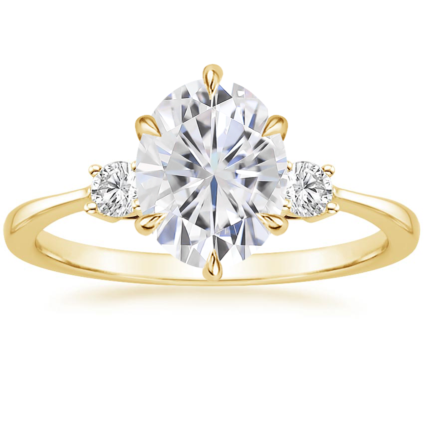 Yellow Gold Moissanite Six Prong Selene Diamond Ring (1/10 ct. tw.)