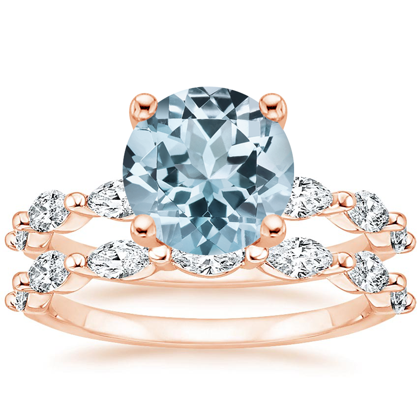 14KR Aquamarine Joelle Diamond Bridal Set (3/4 ct. tw.), top view