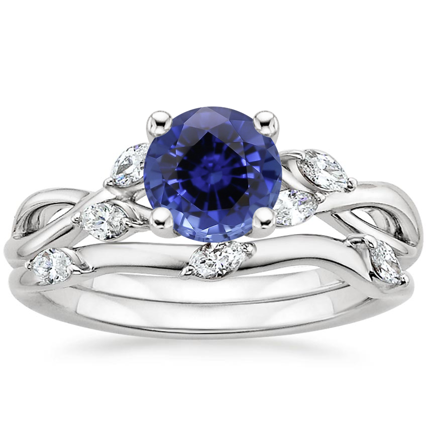 18KW Sapphire Willow Bridal Set (1/4 ct. tw.), top view