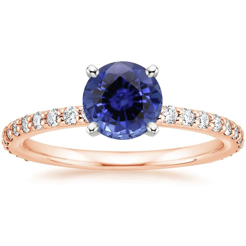 Rose Gold Sapphire Luxe Petite Shared Prong Diamond Ring (1/3 ct. tw.)