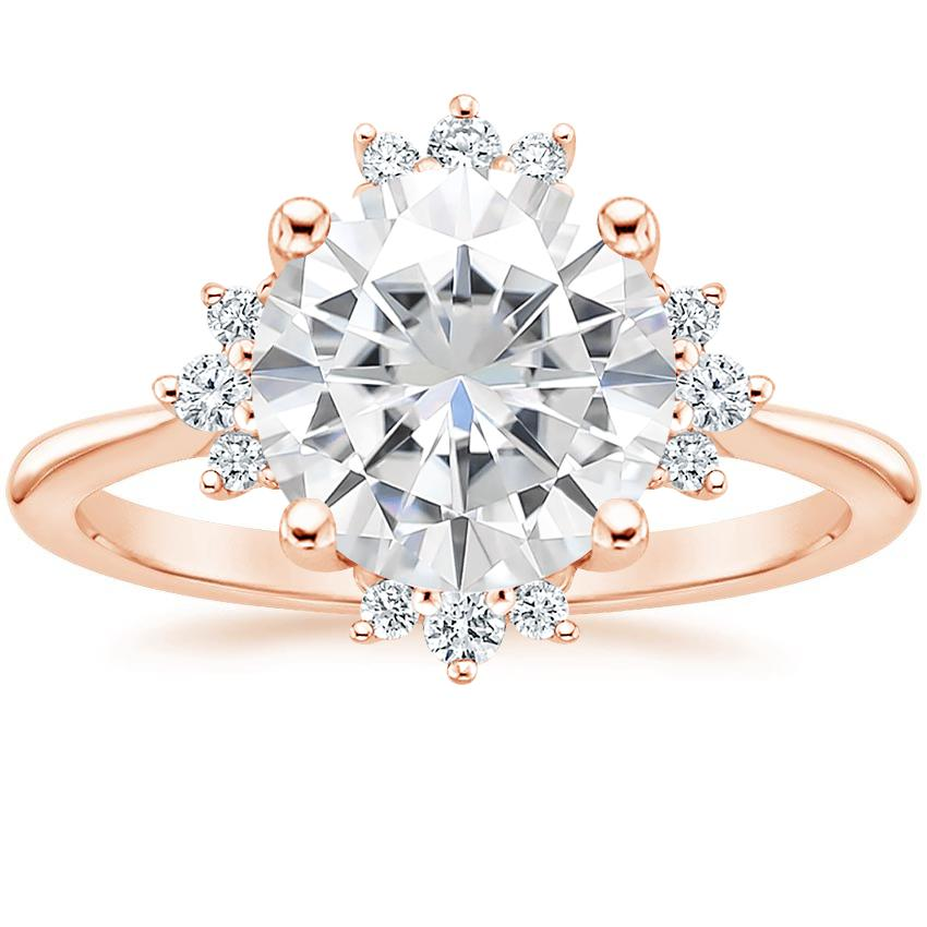 Rose Gold Moissanite Sol Diamond Ring