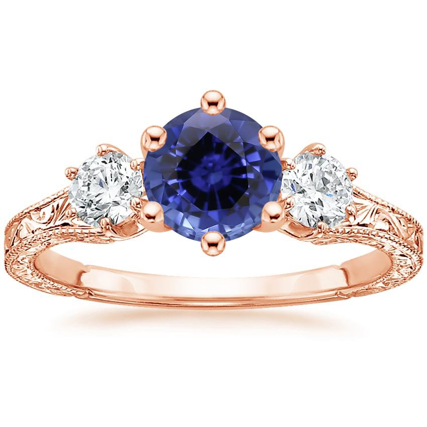 Rose Gold Sapphire Three Stone Hudson Diamond Ring (1/3 ct. tw.)