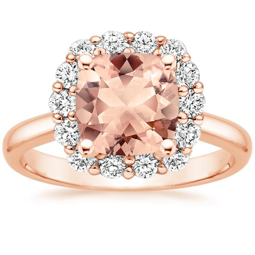 Rose Gold Morganite Lotus Flower Diamond Ring (1/4 ct. tw.)