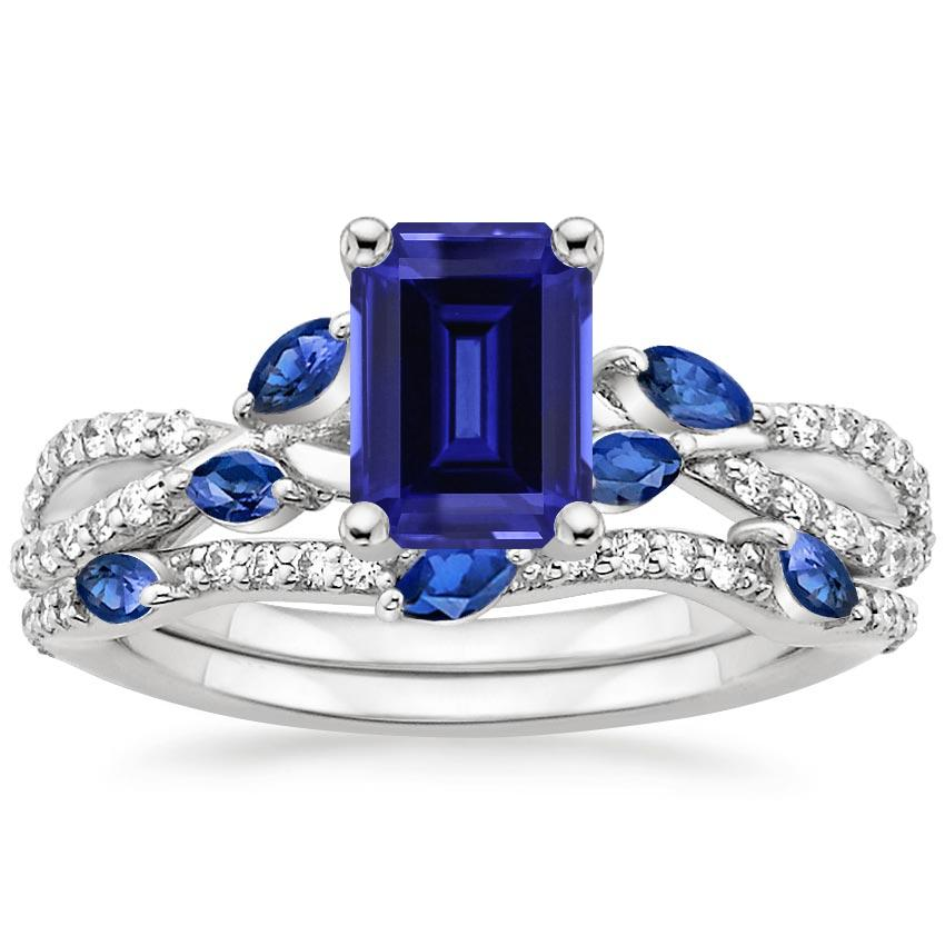PT Sapphire Luxe Willow Sapphire and Diamond Bridal Set (1/4 ct. tw.), top view
