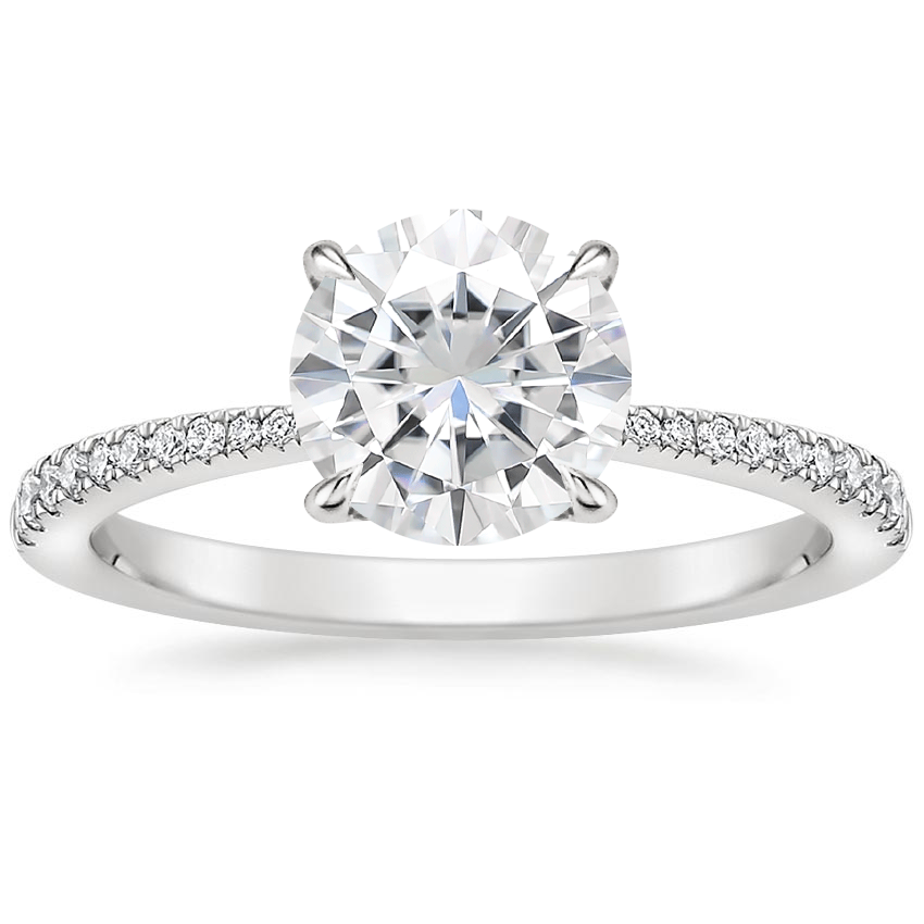 Moissanite Elena Diamond Ring in 18K White Gold