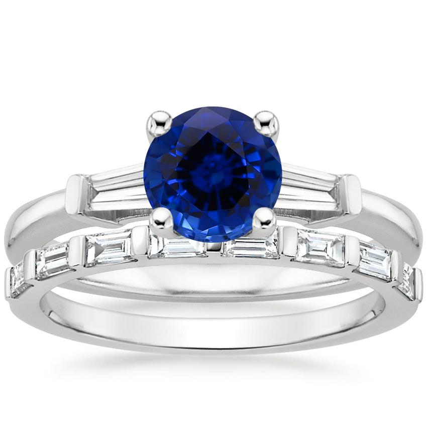 18KW Sapphire Tapered Baguette Diamond Ring (1/5 ct. tw.) with Barre Diamond Ring (1/4 ct. tw.), top view