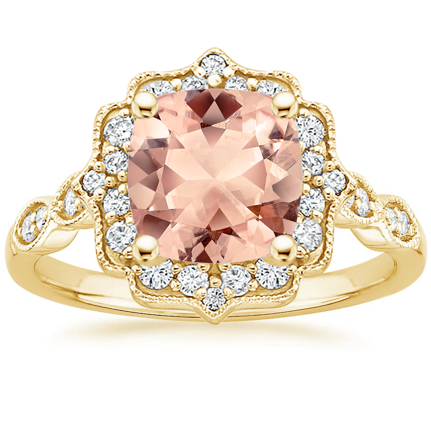 Yellow Gold Morganite Cadenza Halo Diamond Ring