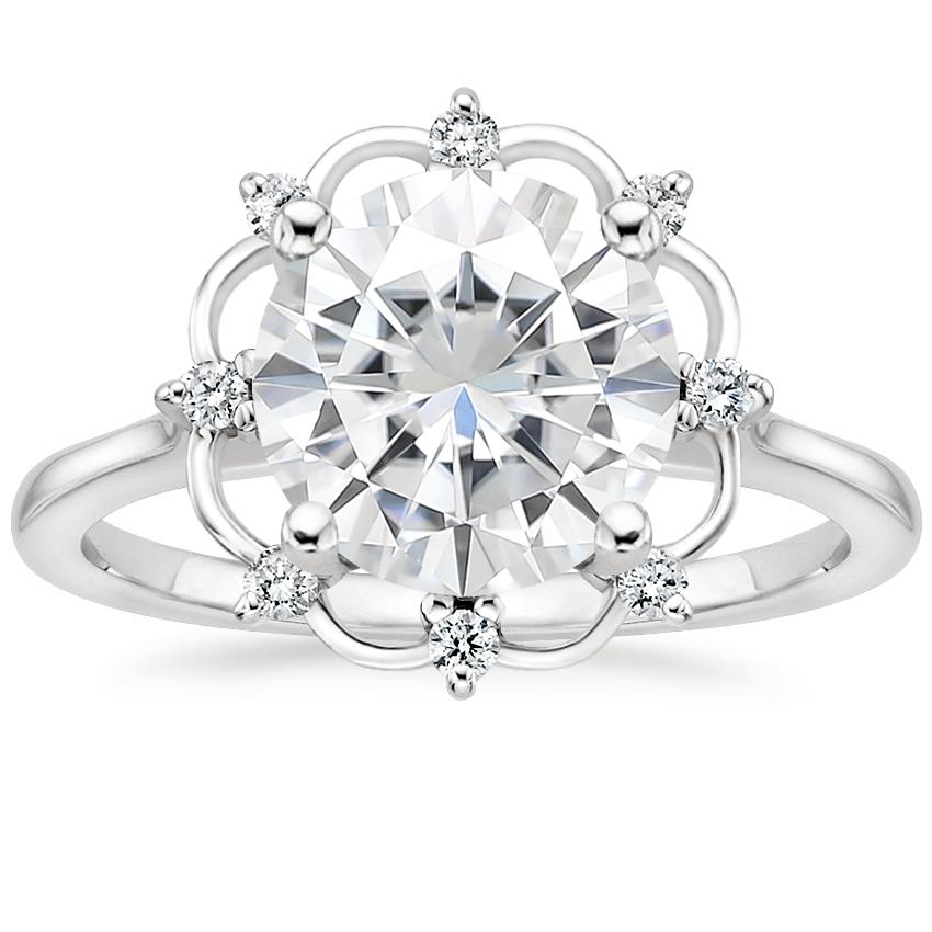 Moissanite Chantilly Diamond Ring in Platinum