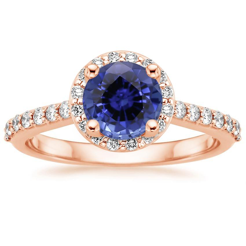Rose Gold Sapphire Halo Diamond Ring with Side Stones (1/3 ct. tw.)