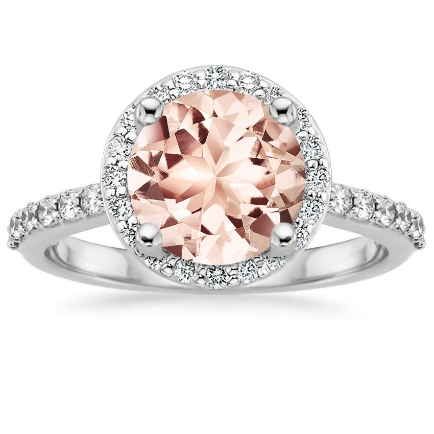 Morganite Halo Diamond Ring with Side Stones (1 3 ct. tw.) in 18K White Gold 0b215bad840d