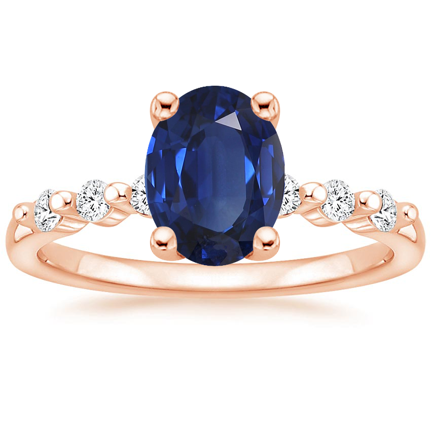 Rose Gold Sapphire Petite Marseille Diamond Ring (1/6 ct. tw.)